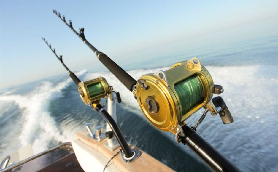 Offshore reels on fishing boat